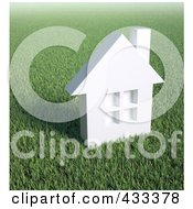 Royalty Free RF Clipart Illustration Of A 3d White House In A Field Of Grass by Mopic