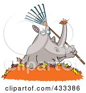 Royalty Free RF Clipart Illustration Of A Rhino Holding A Rake In A Pile Of Leaves by toonaday