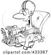 Royalty Free RF Clipart Illustration Of Coloring Page Line Art Of A Football Fan Watching TV In An Arm Chair