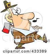 Royalty Free RF Clipart Illustration Of A Whistling Pilgrim Carrying An Ax Over His Shoulder by toonaday