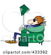 Royalty Free RF Clipart Illustration Of A Man Sitting In A Chair And Being Blown Away by toonaday