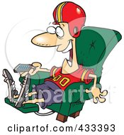 Royalty Free RF Clipart Illustration Of A Football Fan Watching TV In An Arm Chair by toonaday
