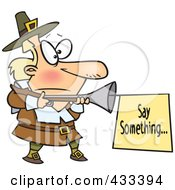 Royalty Free RF Clipart Illustration Of A Cartoon Pilgrim With A Blunderbuss And Sign
