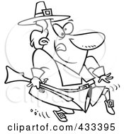 Royalty Free RF Clipart Illustration Of Coloring Page Line Art Of A Cartoon Pilgrim Tip Toeing And Carrying A Blunderbuss
