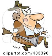Royalty Free RF Clipart Illustration Of A Cartoon Pilgrim Tip Toeing And Carrying A Blunderbuss by toonaday