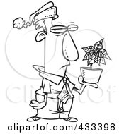 Royalty Free RF Clipart Illustration Of Coloring Page Line Art Of A Grumpy Employee Holding A Poinsettia Christmas Bonus