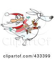 Royalty Free RF Clipart Illustration Of Santa Riding An Albino Kangaroo