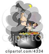 Witch Cooking A Potion In A Black Pot Clipart