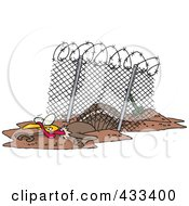 Royalty Free RF Clipart Illustration Of A Turkey Bird Escaping Under An Enclosure by toonaday
