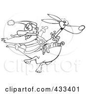 Royalty Free RF Clipart Illustration Of Coloring Page Line Art Of Santa Riding A Kangaroo