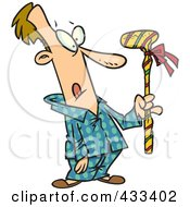 Royalty Free RF Clipart Illustration Of A Man Holding A Wrapped Golf Club by toonaday