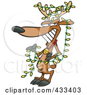 Royalty Free RF Clipart Illustration Of A Christmas Reindeer Decked Out In Yellow Lights