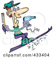 Royalty Free RF Clipart Illustration Of A Skiing Hairstylist