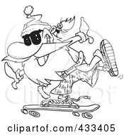 Royalty Free RF Clipart Illustration Of Coloring Page Line Art Of Santa Skateboarding by toonaday