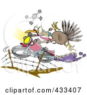 Royalty Free RF Clipart Illustration Of A Turkey Bird Escaping On A Motorcycle by toonaday