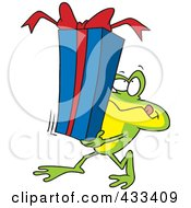Royalty Free RF Clipart Illustration Of A Frog Carrying A Gift Box by toonaday