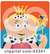Clipart Illustration Of A Royal Caucasian Queen Holding A Staff