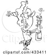 Royalty Free RF Clipart Illustration Of Coloring Page Line Art Of A New Year Woman Popping Open A Bottle Of Champagne
