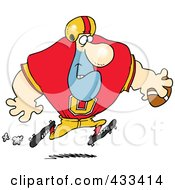 Royalty Free RF Clipart Illustration Of A Football Player Running With The Ball