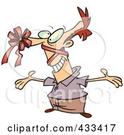 Royalty Free RF Clipart Illustration Of A Man With A Gift Bow On His Nose