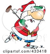 Royalty Free RF Clipart Illustration Of Santa Golfing by toonaday