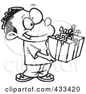 Royalty Free RF Clipart Illustration Of Coloring Page Line Art Of A Black Boy Holding A Gift Box by toonaday