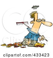 Royalty Free RF Clipart Illustration Of A Grumpy Man Raking Autumn Leaves by toonaday