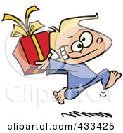 Royalty Free RF Clipart Illustration Of A Black Boy Running With A Gift Box by toonaday
