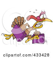Royalty Free RF Clipart Illustration Of A Turkey Bird Running In Panic With Luggage by toonaday