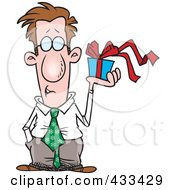 Royalty Free RF Clipart Illustration Of A Man Holding A Gift Box