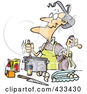 Royalty Free RF Clipart Illustration Of An Old Woman Baking