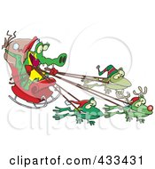Royalty Free RF Clipart Illustration Of A Crocodile Santa With Frog Reindeer by toonaday
