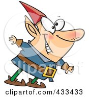 Royalty Free RF Clipart Illustration Of A Happy Elf Leaning