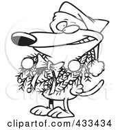Royalty Free RF Clipart Illustration Of Coloring Page Line Art Of A Dog Wearing A Christmas Wreath