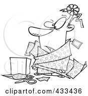 Royalty Free RF Clipart Illustration Of Coloring Page Line Art Of A Man Tangled In Wrapping Paper