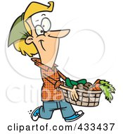 Royalty Free RF Clipart Illustration Of A Woman Carrying A Harvest Basket by toonaday