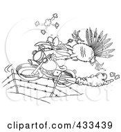 Royalty Free RF Clipart Illustration Of Coloring Page Line Art Of A Turkey Bird Escaping On A Motorcycle by toonaday