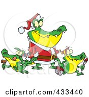 Royalty Free RF Clipart Illustration Of An Alligator Santa With Little Gator Elves by toonaday