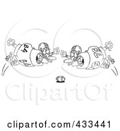 Royalty Free RF Clipart Illustration Of Coloring Page Line Art Of Football Players Diving Towards The Ball