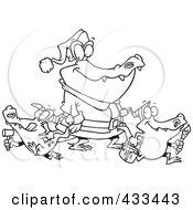 Royalty Free RF Clipart Illustration Of Coloring Page Line Art Of An Alligator Santa With Little Gator Elves