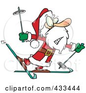 Royalty Free RF Clipart Illustration Of A Nervous Santa Skiing by toonaday