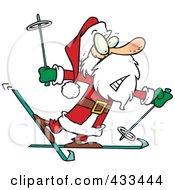 Royalty Free RF Clipart Illustration Of A Nervous Santa Skiing