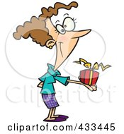 Royalty Free RF Clipart Illustration Of A Woman Holding A Gift Box