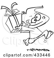Royalty Free RF Clipart Illustration Of Coloring Page Line Art Of A Black Boy Running With A Gift Box by toonaday