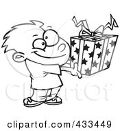 Royalty Free RF Clipart Illustration Of Coloring Page Line Art Of A Boy Holding A Gift Box by toonaday