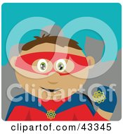 Clipart Illustration Of A Latin American Super Hero Man In A Costume