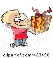 Royalty Free RF Clipart Illustration Of A Boy Holding A Gift Box by toonaday