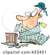 Royalty Free RF Clipart Illustration Of A Man Tangled In Wrapping Paper