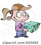 Royalty Free RF Clipart Illustration Of A Sweet Girl Holding A Gift Box