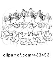 Royalty Free RF Clipart Illustration Of Coloring Page Line Art Of Six Geese A Laying by toonaday